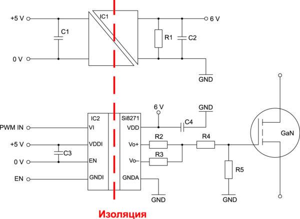 Пример реализации управления затвором транзистора