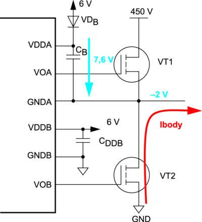 Схема полумоста при использовании бутстрипного диода