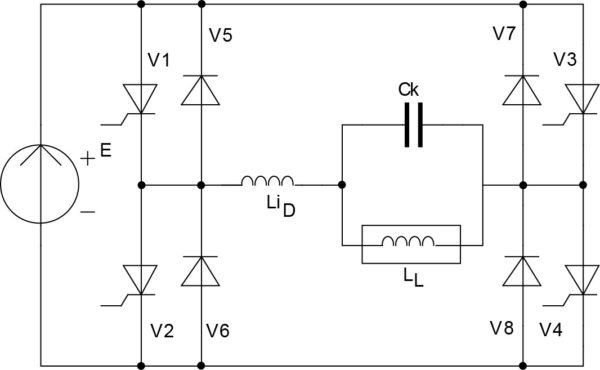 Схема однофазного мостового согласованного инвертора с резонансной коммутацией на однооперационных вентилях