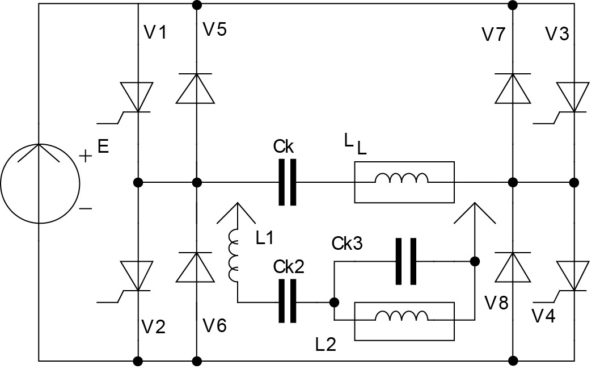 Инвертор Л. Г. Кощеева и схема подключения нагрузочного контура через дополнительный последовательный LC-контур