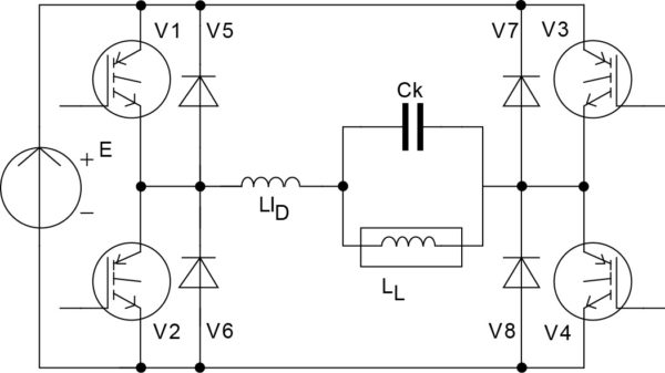 Согласованный инвертор на двухоперационных вентилях с нагрузкой по схеме параллельного контура первого вида