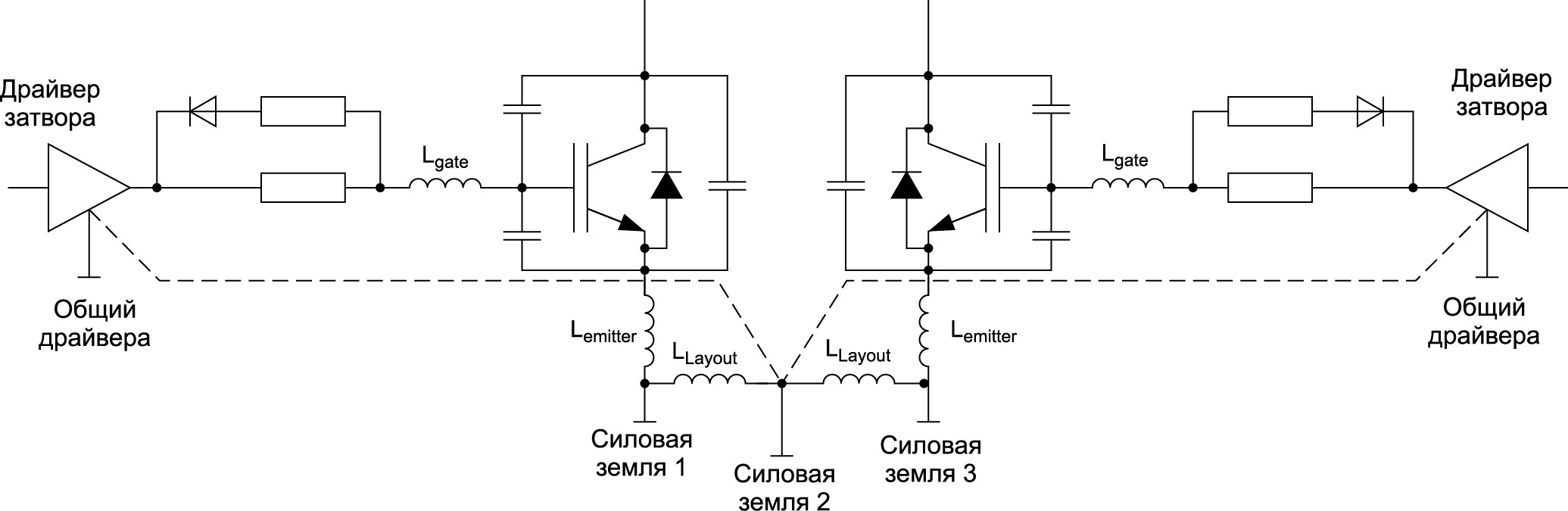 Транзисторы нижнего плеча, имеющие общие «земли»