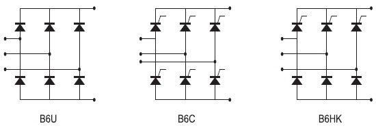 Схемные топологии полупроводниковых сборок серии В6