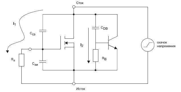 Cхема, демонстрирующая возможные механизмы нежелательного открытия сток-исток