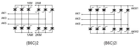 Схемные топологии полупроводниковых сборок серии В6С
