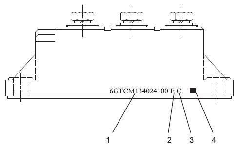 Боковой вид силового модуля с нанесенной маркировкой
