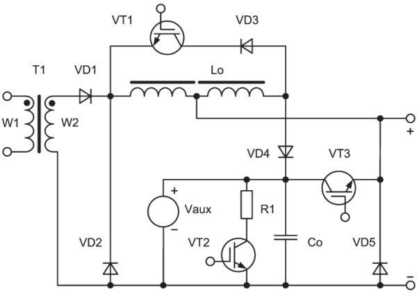 Фрагмент силовой части ИИСТ для MIG/MAG процессов, обеспечивающей высокую скорость изменения тока дуги