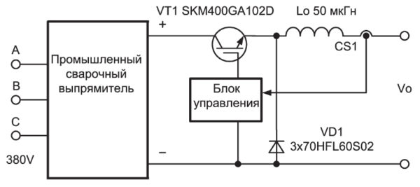 Блок-схема электронного регулятора сварочного тока с релейным управлением