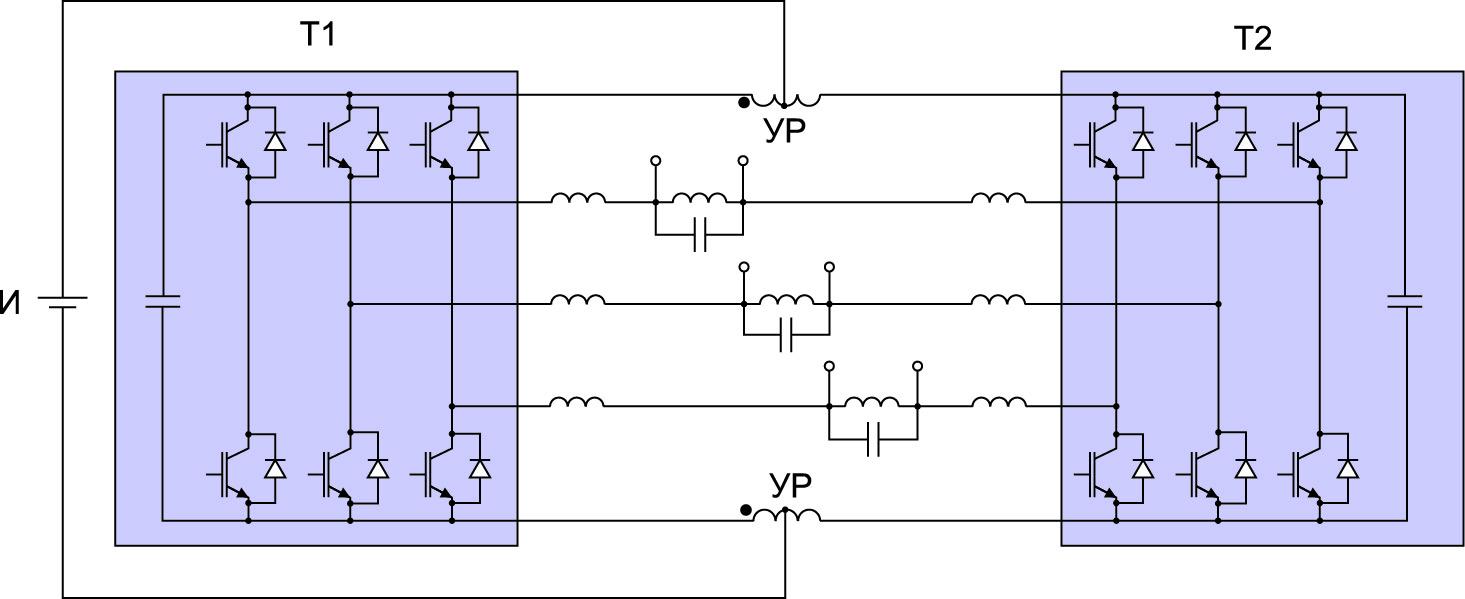 Статический преобразователь частоты по расщепленной схеме с уравнительным реактором