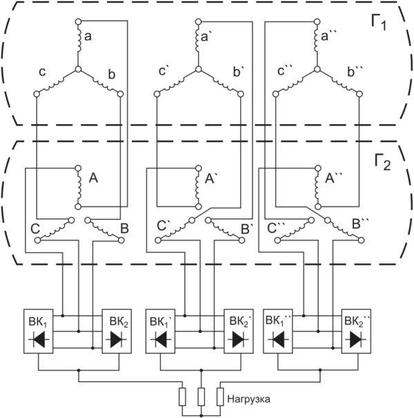 Упрощенная схема формирования напряжений биений и получения выходного напряжения частотой 50 Гц