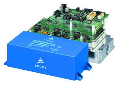 Законченный инвертор привода с выходной мощностью до 150 кВт. Наиболее важный пассивный элемент — блок конденсатора DC-шины EPCOS PCC. Эта конструкция доступна в качестве «оценочного комплекта»
