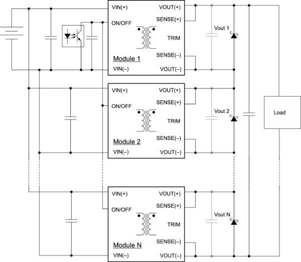 Схема последовательного подключения преобразователей SynQor с обобщенным входом питания