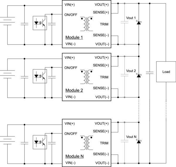 Схема последовательного подключения преобразователей SynQor с несколькими источниками электропитания по входу