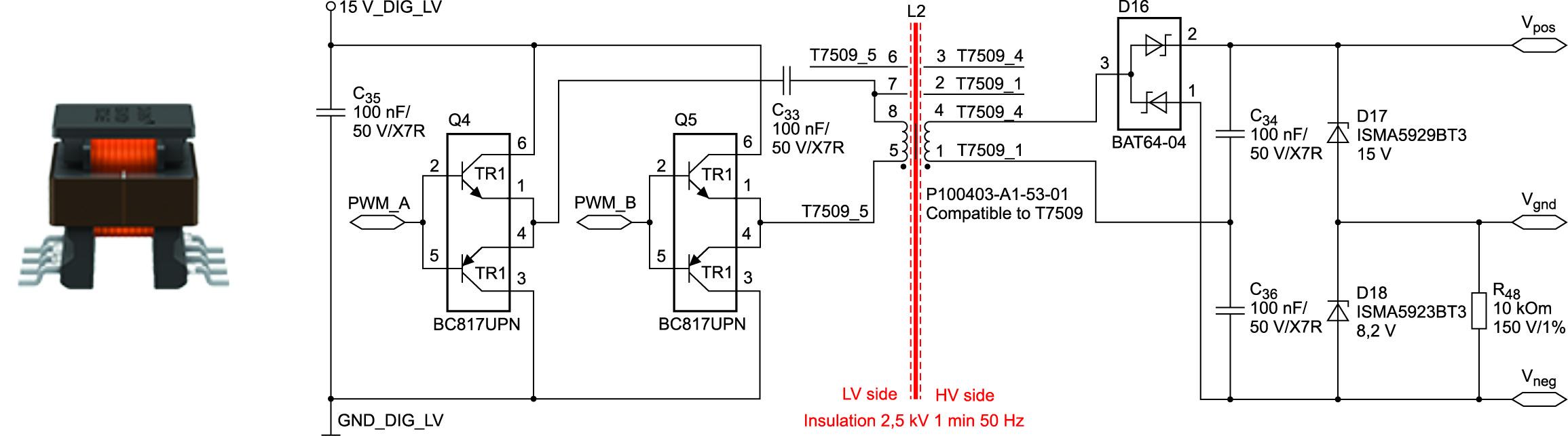 Целью применения трансформатора в драйвере затворов является гальваническая изоляция высоковольтных и низковольтных цепей