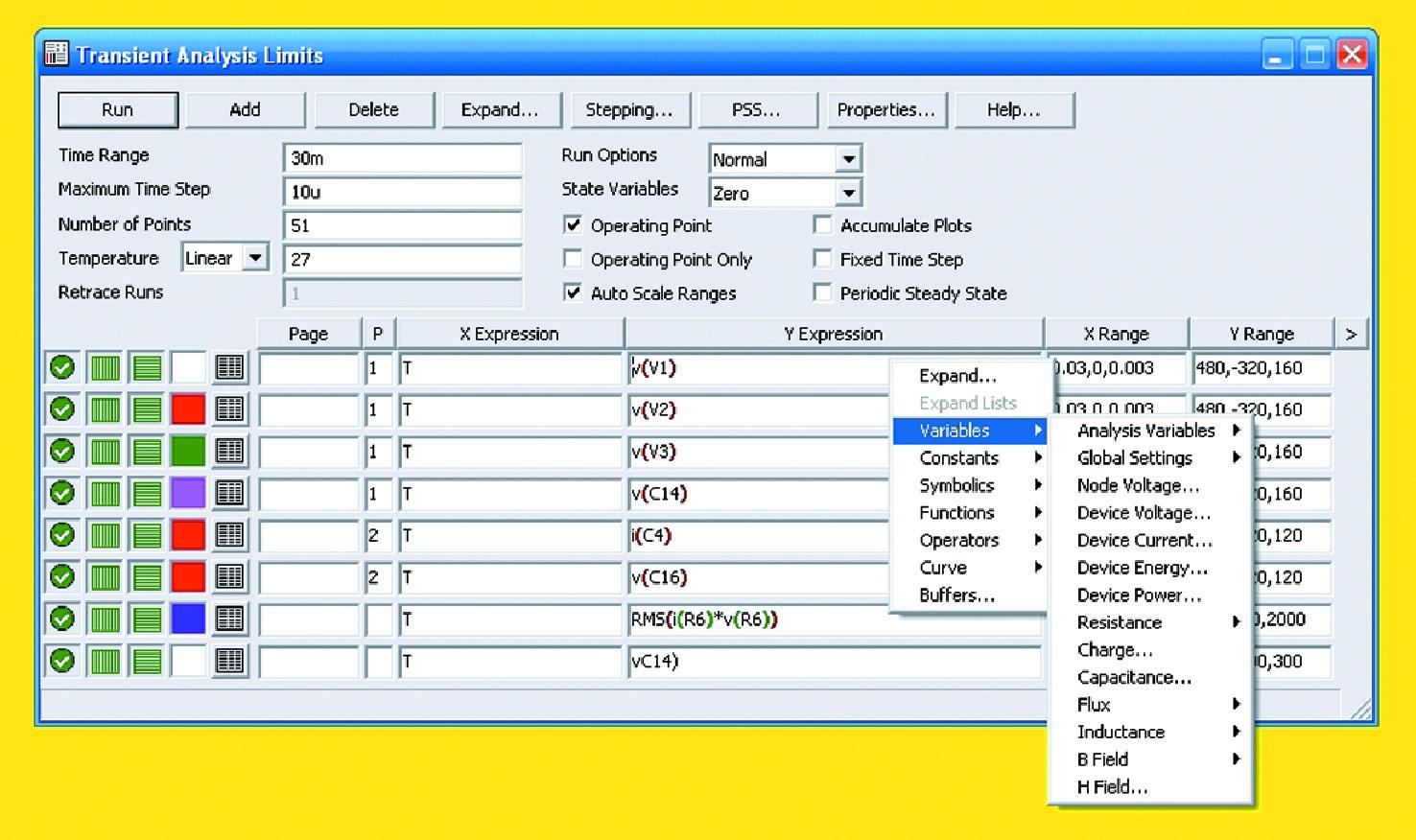Панель установки параметров дляанализа переходных процессов всхемотехнической модели ИЭП