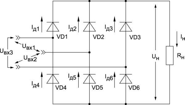 Классическая схема трехфазного двухполупериодного «выпрямителя Ларионова»
