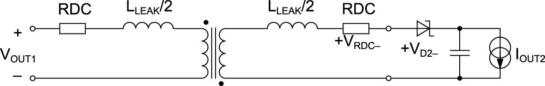 Эквивалентная схема с магнитосвязанной индуктивностью 1:1 с учетом паразитных составляющих первого порядка и падения напряжения на выпрямительном диоде