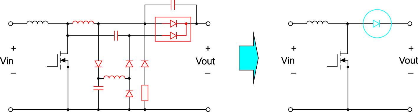 Рис. 3. Схема повышающего преобразователя упрощается благодаря использованию SiC-диодов