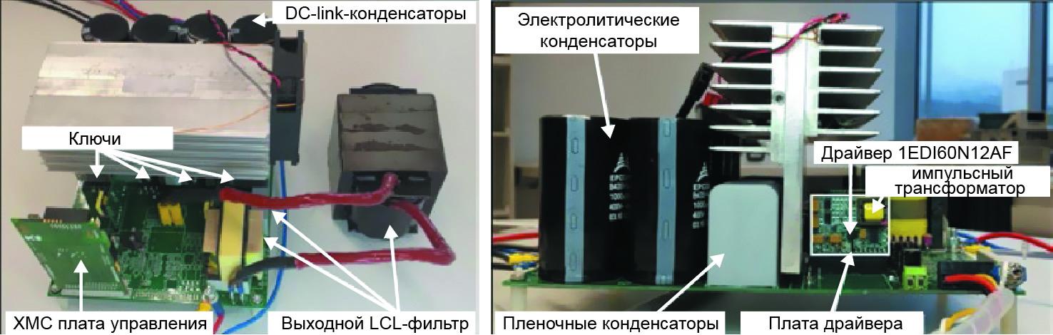 Однофазные устройства, использованные для тестирования. Вид спереди и сбоку
