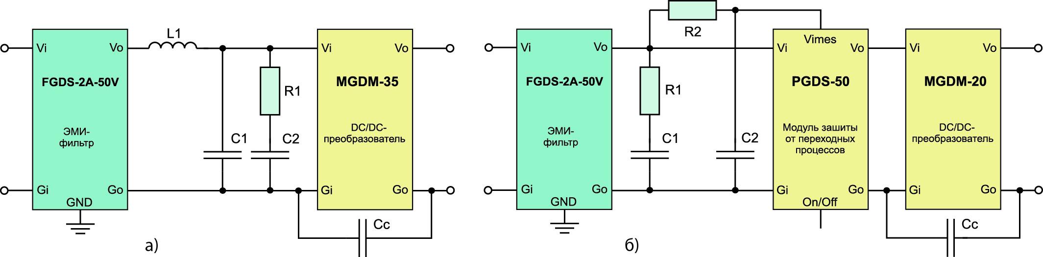 Типовые схемы включения ЭМИ-фильтров GAIA Converter