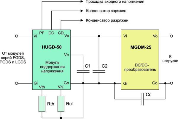 Типовая схема включения модуля HUGD-50