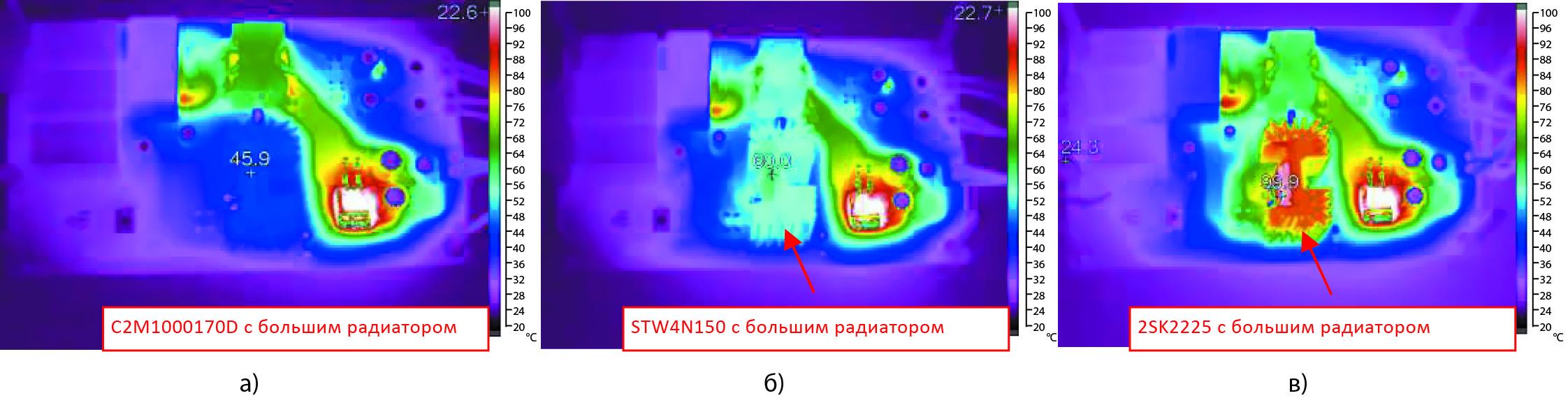 Сравнение по степени нагрева SiC и Si МОП-транзисторов, установленных на одинаковый теплоотвод с большой теплоотводящей поверхностью. Измерения проведены при входном напряжении преобразователя 1000 В постоянного тока
