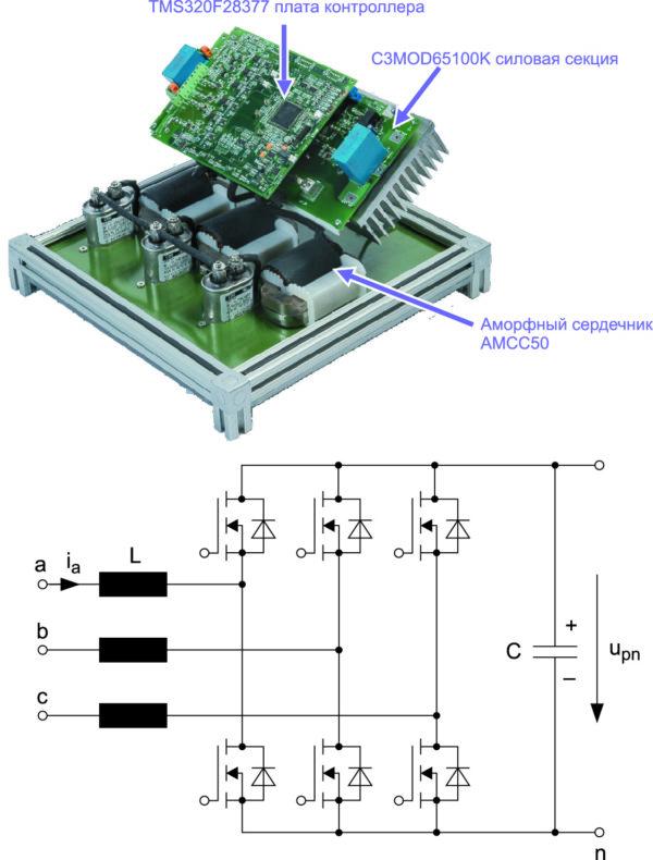 Внешний вид и схема активного выпрямителя 20 кВт