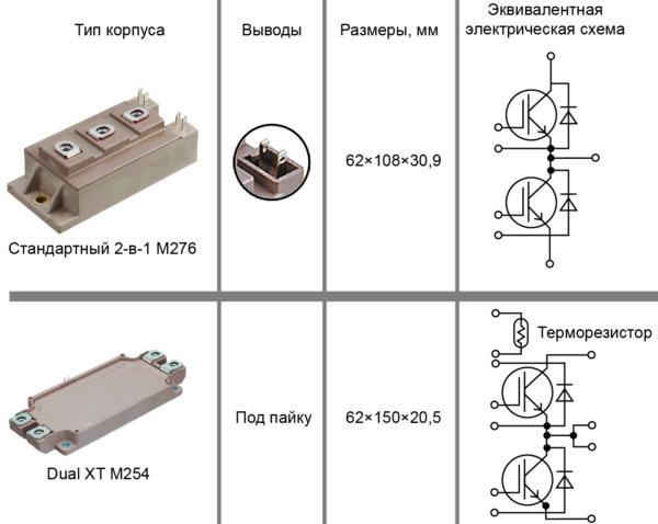 Конструктивное исполнение и электрическая схема высокоскоростных гибридных модулей компании Fuji Electric