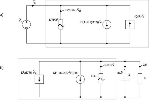 Малосигнальная эквивалентная схема повышающе-понижающего преобразователя с текущим контролем: а) модель входного порта согласно второму уравнению (34); б) модель выходного порта в соответствии с первым уравнением (34)