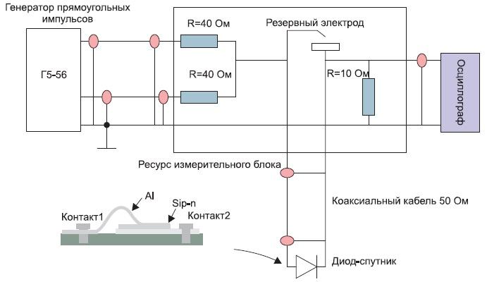 Схема измерения времени жизни носителей заряда надиодных кристаллах-спутниках