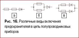 Различные виды включения предохранителей в цепь полупроводниковых приборов