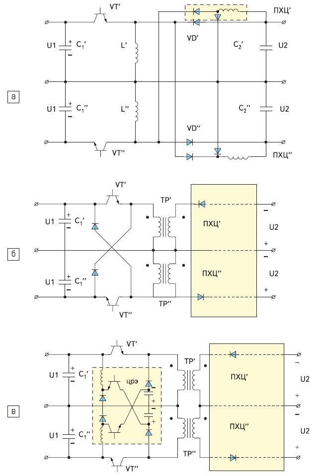 Спаренные однотактные импульсные конверторы с дополнительными прямоходовыми цепями (ПХЦ)