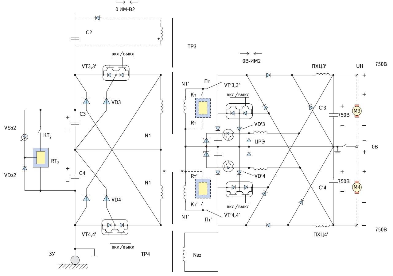 Транзисторный вариант обратимого канала питания двигателей