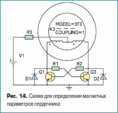 Схема для определения магнитных параметров сердечника