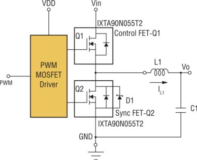 Синхронный понижающий преобразователь с использованием IXYS TrenchT2TM Power MOSFET