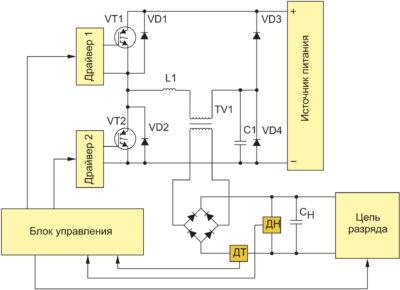Схема преобразователя для заряда емкостного накопителя