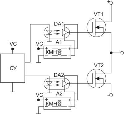 Схема управления транзисторами через гальванический барьер