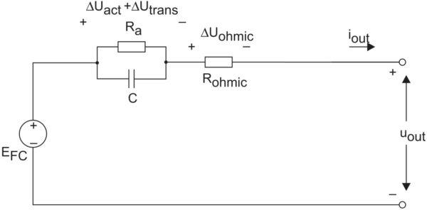 Упрощенная эквивалентная электрическая схема топливной ячейки