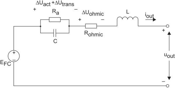 Эквивалентная электрическая схема топливной ячейки с паразитными индуктивностями