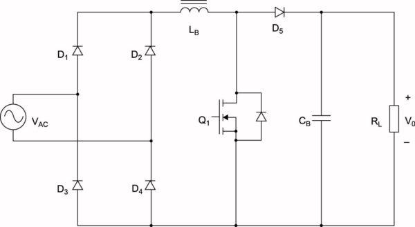 Традиционная схема ККМ на основе повышающего преобразователя  (обычно Q1 — это SJ-транзистор, а D5 — диод Шоттки на основе SiC)