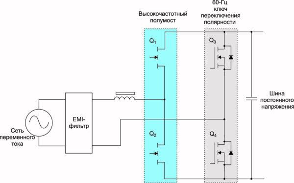 Двухтактная повышающая топология без выпрямительного моста  (мостовая схема, нет диодов)