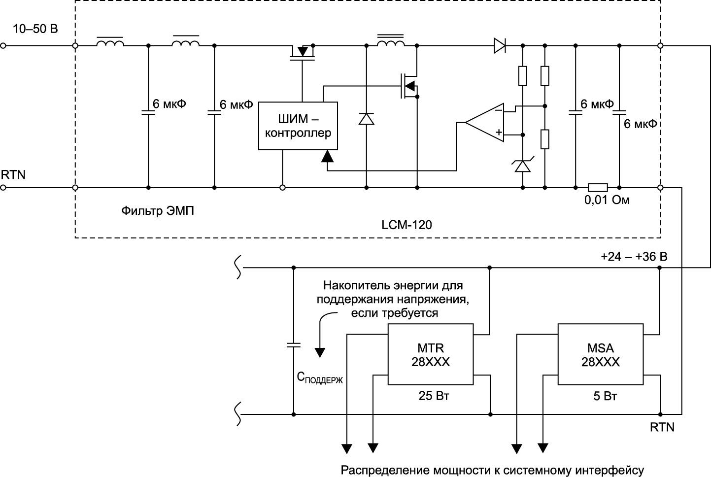 Структурная схема системы питания с применением модуля кондиционера шины питания LCM–120