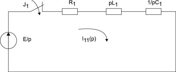 Операторная схема замещения в период первого замыкания ключа J1