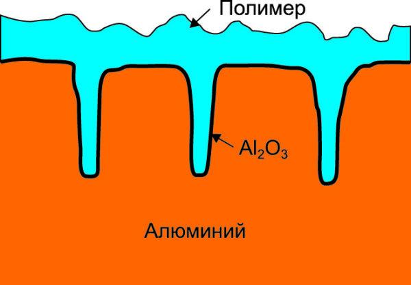 Поперечный разрез анода алюминиевого электролитического конденсатора с проводящим полимером (упрощенный)