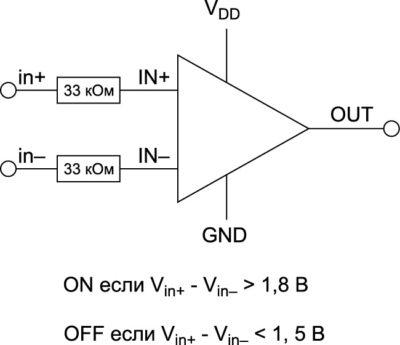 Микросхема драйвера затвора нижнего транзистора с истинно дифференциальными входами, в этом случае входы независимы от подключения и потенциала шины заземления (GND) драйвера