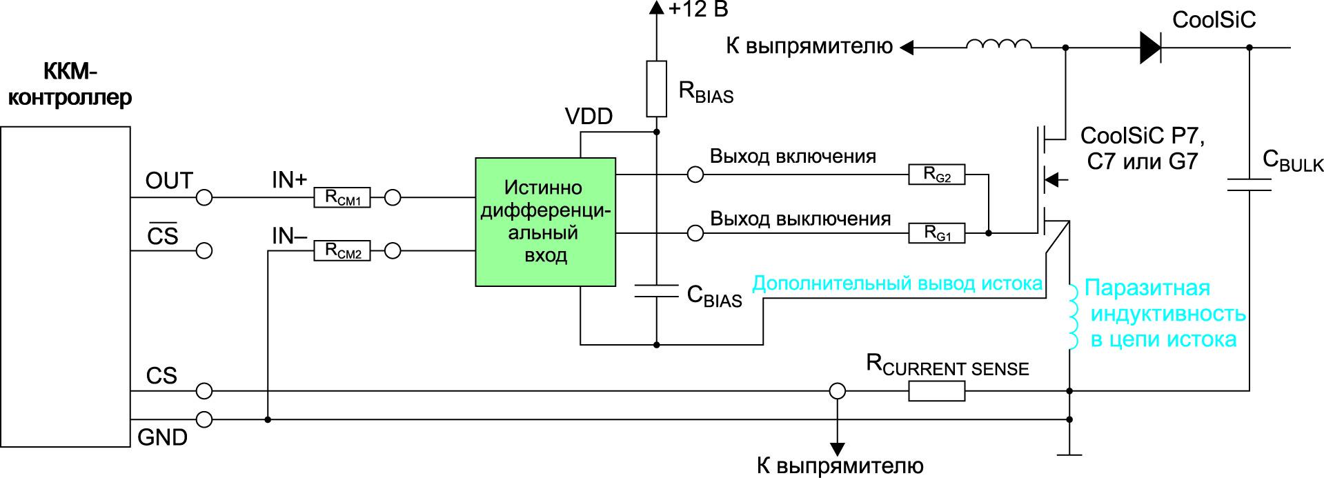 МОП-транзистор управляется драйвером затвора с истинно дифференциальными входами управления