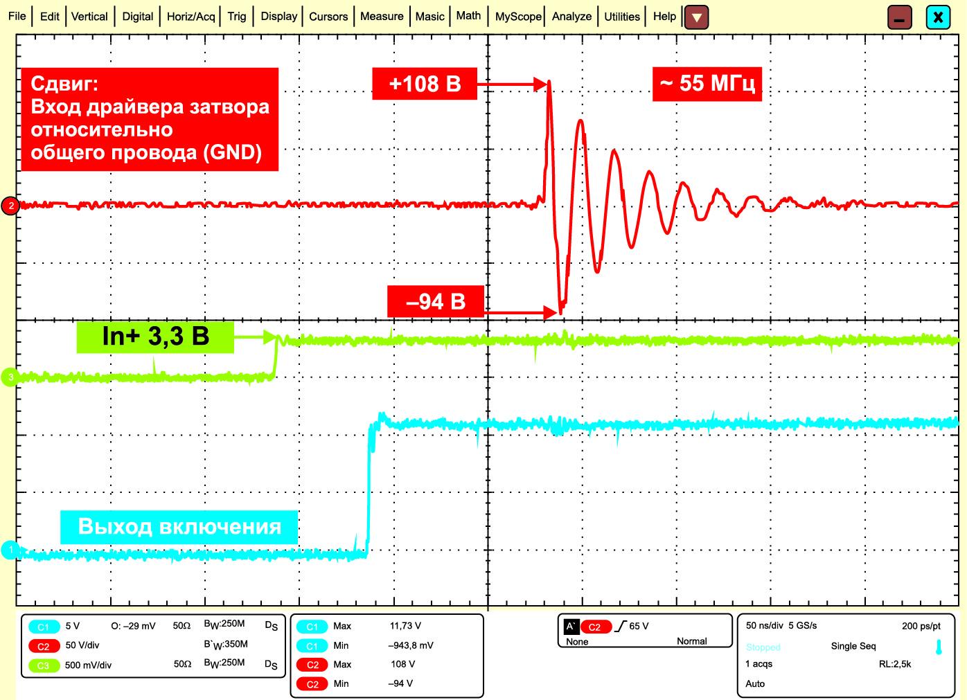 Демонстрация высокой устойчивости драйверов серии 1EDNх550 к сдвигу относительно общего провода (GND)