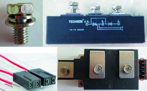 Винты для крепления шин к выводам модулей (сверху) и соединители для управляющих электродов модулей (снизу)