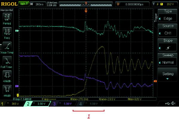 Выключение транзистора с Rg = 200 Ом