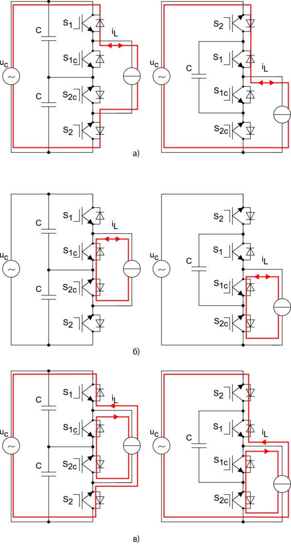 Пути протекания тока в различных режимах работы